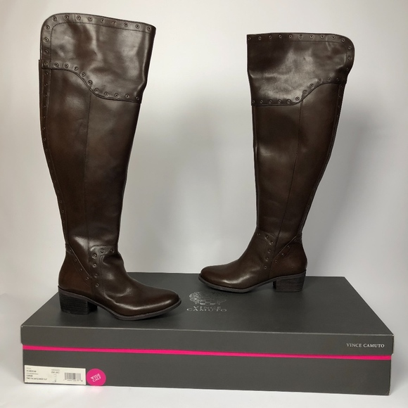 Vince Camuto Bestan Carob Chocolate Brown Wide Calf Riding Over The Knee Boots